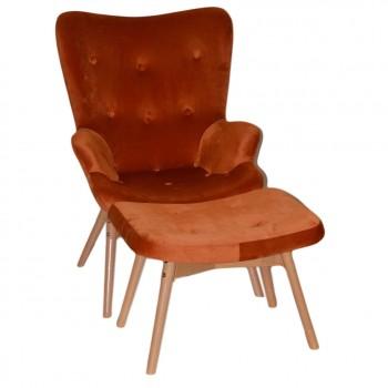 Кресло Флорино оранжевый велюр