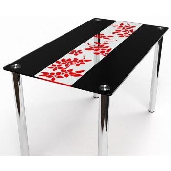 Стол Цветы Рая красно-черный