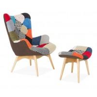 Кресло для дома Florino patchwork с табуреткой (Флорино пэчворк)