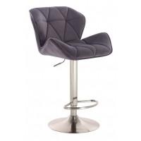 Барный стул высокий HY 3008 DeLux grey chrome (HY 3008 серый велюр)