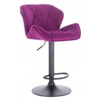 Барный стул высокий HY 3008 DeLux purple black (HY 3008 фиолетовый велюр)