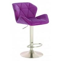 Барный стул высокий HY 3008 DeLux purple chrome (HY 3008 фиолетовый велюр)