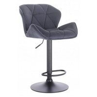 Барный стул высокий HY 3008 DeLux grey black (HY 3008 серый велюр)