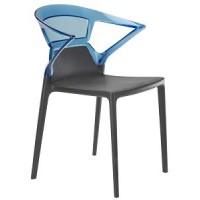 Барный стул пластиковый Ego-K blu antracite