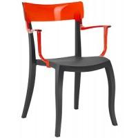 Барный стул пластиковый Hera-K trasparente red black