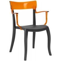 Барный стул пластиковый Hera-K trasparente orange black
