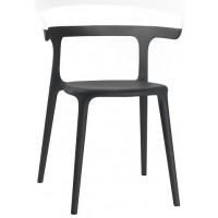 Барный стул пластиковый Luna solid white black