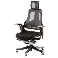 Офисное кресло для руководителя WAU black fabric, charcoal network (черно-серое)