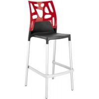 Барный стул пластиковый Ego-Rock Bar09 solid red