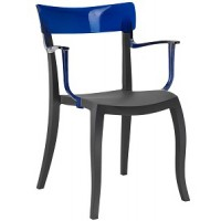 Барный стул пластиковый Hera-K trasparente blue black