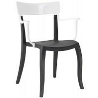 Барный стул пластиковый Hera-K white black