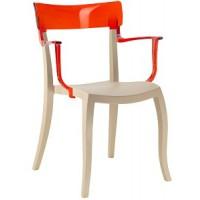 Барный стул пластиковый Hera-K trasparente red beige