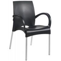 Барный стул пластиковый с подлокотниками Vital-K black (черный)