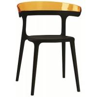 Барный стул пластиковый Luna orange black