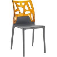 Барный стул пластиковый Ego-Rock trasparente orange antracite