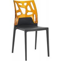 Барный стул пластиковый Ego-Rock trasparente orange black