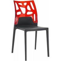 Барный стул пластиковый Ego-Rock trasparente red black
