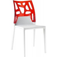 Барный стул пластиковый Ego-Rock trasparente red white
