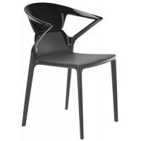 Барный стул пластиковый Ego-K black antracite
