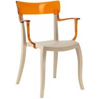 Барный стул пластиковый Hera-K trasparente orange beige