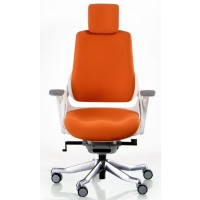 Офисное кресло для руководителя WAU mandarin fabric white (оранжево-белое)