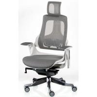 Офисное кресло для руководителя WAU snowy network white (серо-белое)