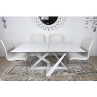 Стол раскладной Fleetwood New white (Флитвуд белый стекло сатин) 1600х900