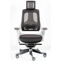 Офисное кресло для руководителя WAU charcoal network white (белое)